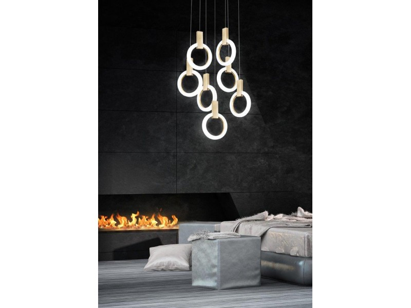 Pendant Led lamp in circular shape in wooden effect.Single lights can be combined.