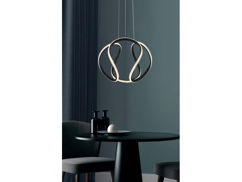 Led pendant in black in modern design.