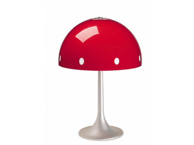 Modern table lamp in red.