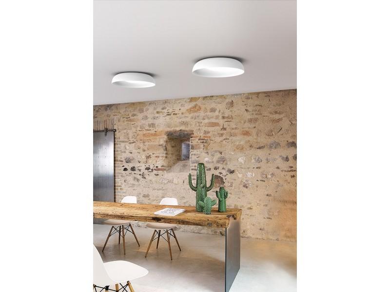 MInimal ceiling lighting in white matt and satin glass.