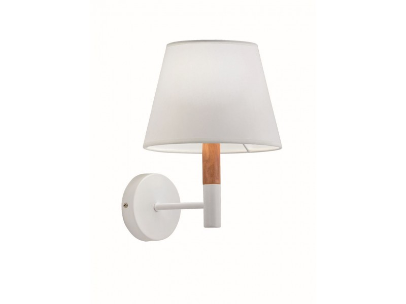 Wall light in white with wooden detail .