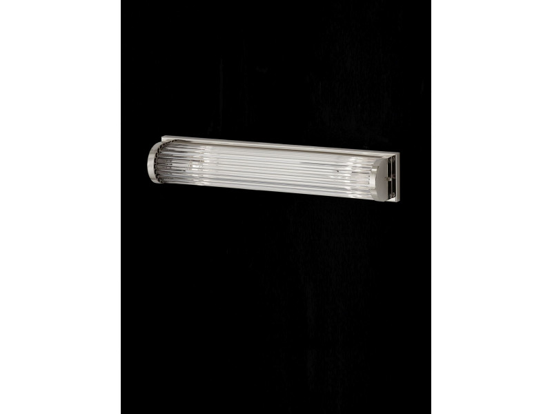 Wall light in  chrome or gold finishing with glass bars.