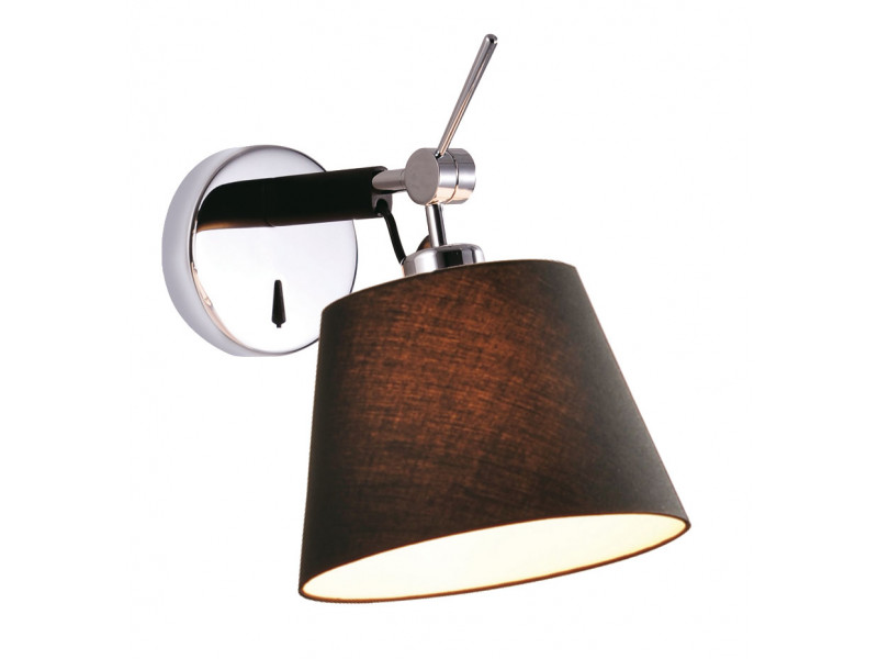 Wall light in chrome with black shade