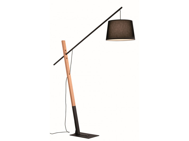 Black metal floor lamp with wooden details