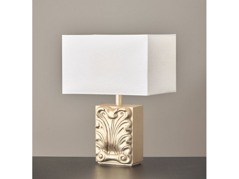 Table lamp  made of metal and carved wood in white