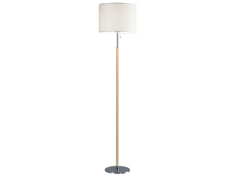 Floor lamp with metal fittings in chrome and beige with switch.Off white shade made of fabric on PVC backing.