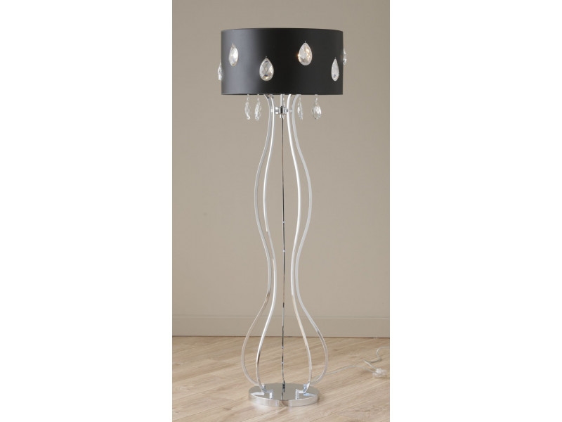 Metal floor lamp  in wavy lines and black shade with crystal detail.