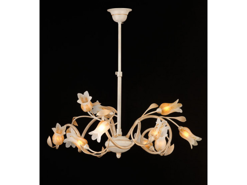 Pendant with cast metal leeves and murano glasses.