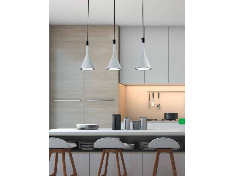 Pendant  in grey-white with three lights in a row