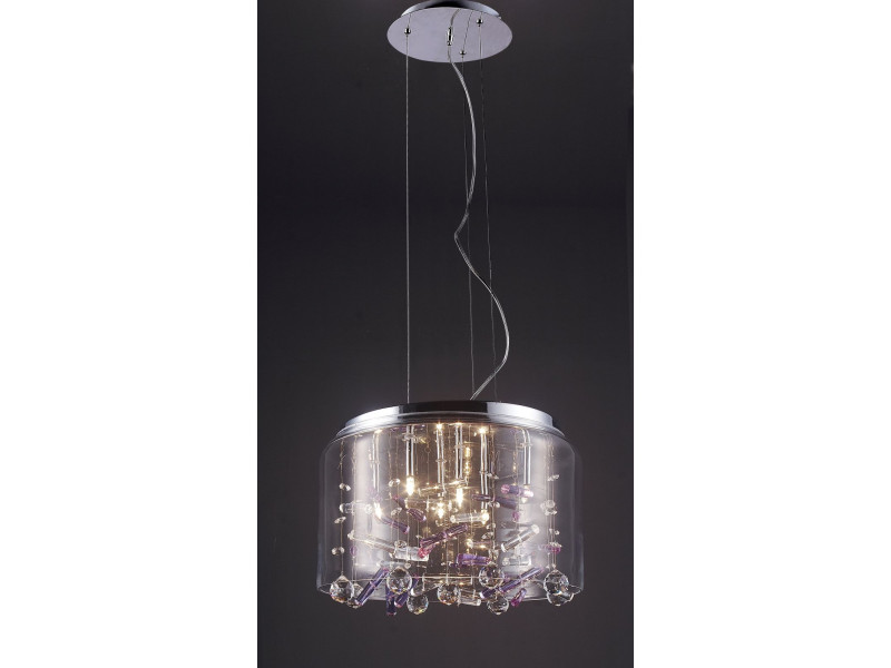 Pendant made of  glass lamp and inside decorated with purple crystals