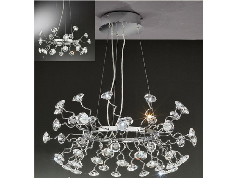 Pendant lighting with crystals and led source .