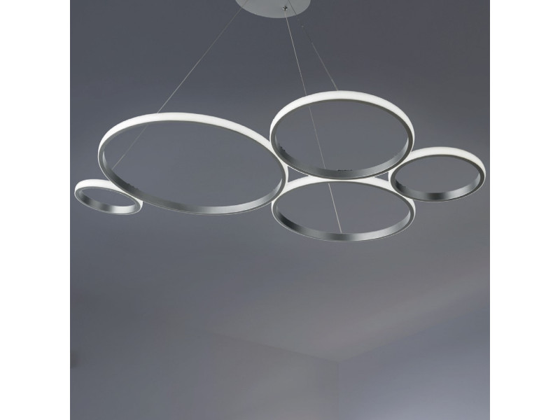 Led pendant in painted metal with circles .