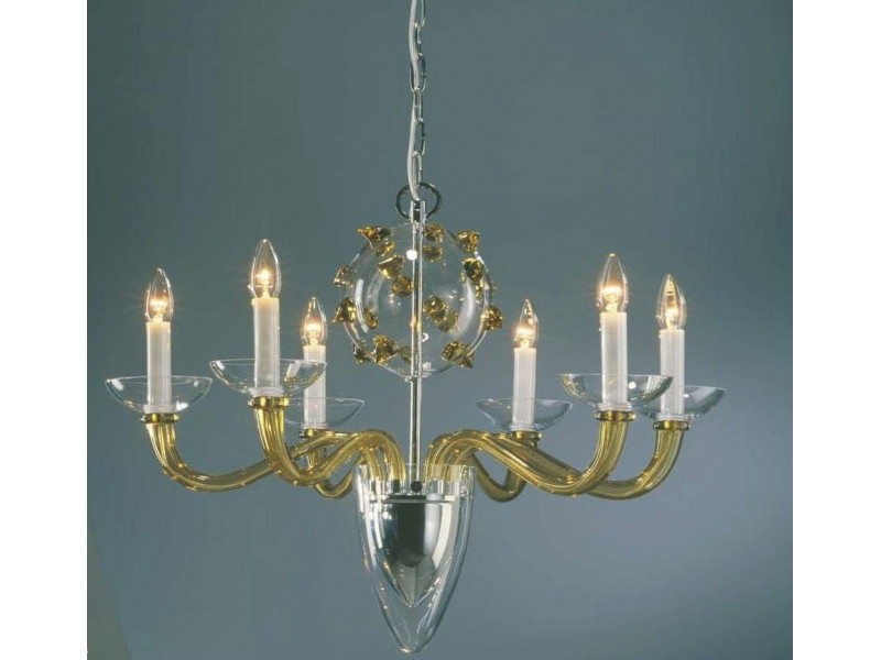 Hanging lamp with a special design in amber glass and chrome finish.