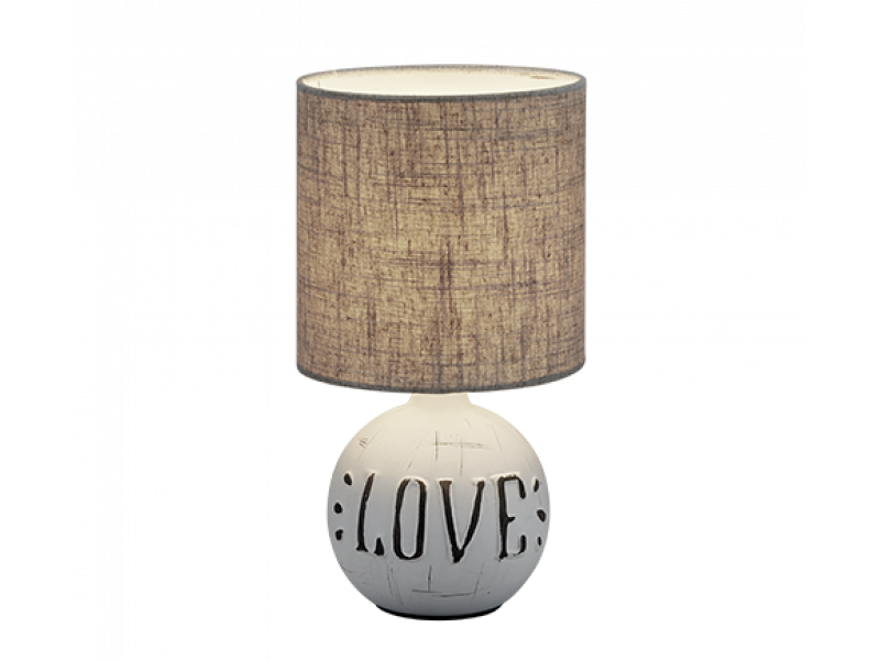 "Ceramic table lamp with gray base and fabric. ""LOVE"" engraved letters."