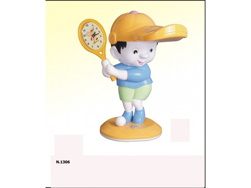 Table lamp with the shape of boy holding a racket in blue .