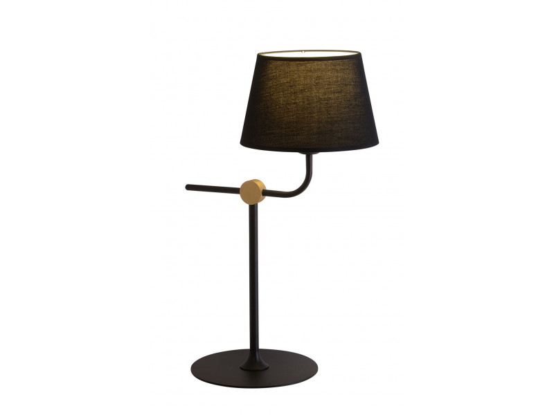 Table lamp in black with gold detail .