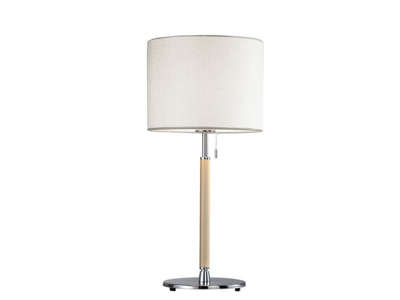 Table lamp in chrome and beige with  switch and white shade made of laminated fabric