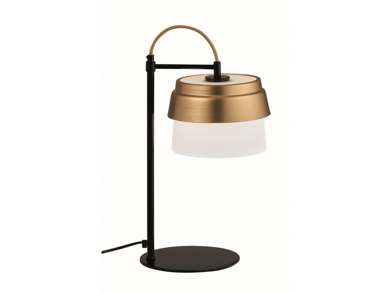 Table lamp in black metal  base ,white glass and gold detail