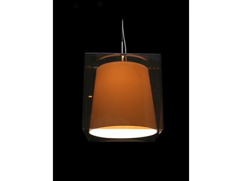 Pendant in chrome with white shades and  brown plexiglas
