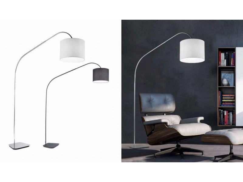 Floor lamp in metal frame with lampshade