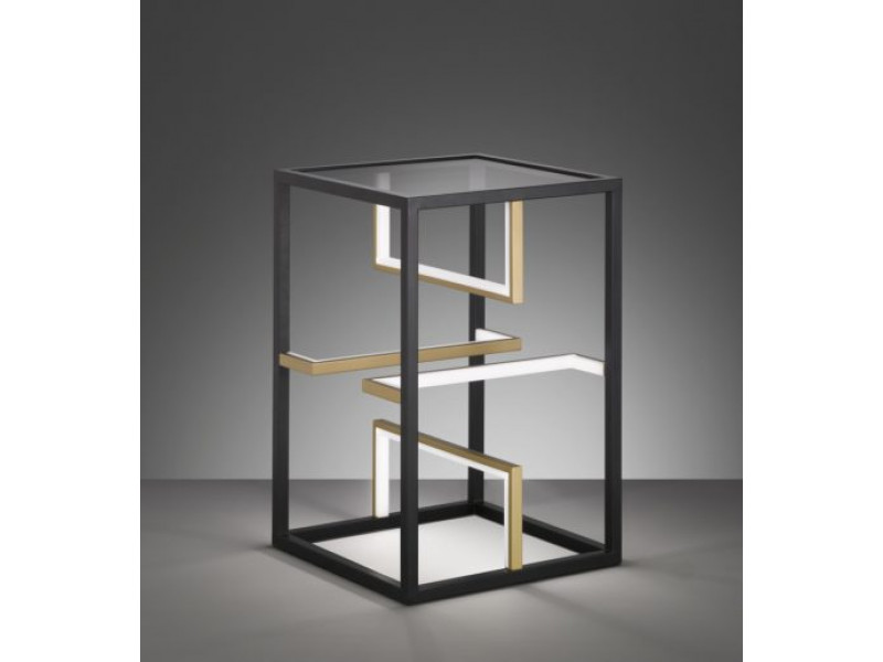 Table with built-in LED Light, in matt black and gold matt with smoke glass and white acrylic glass. It is a 3-step dimmer with a switch.